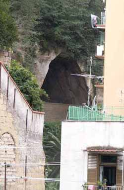 cave beneath houses