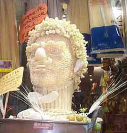 head sculpted of pasta